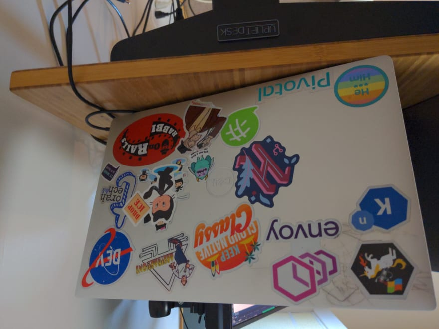 my laptop with stickers.
