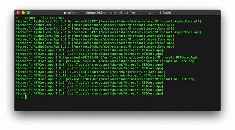 .NET Core runtimes