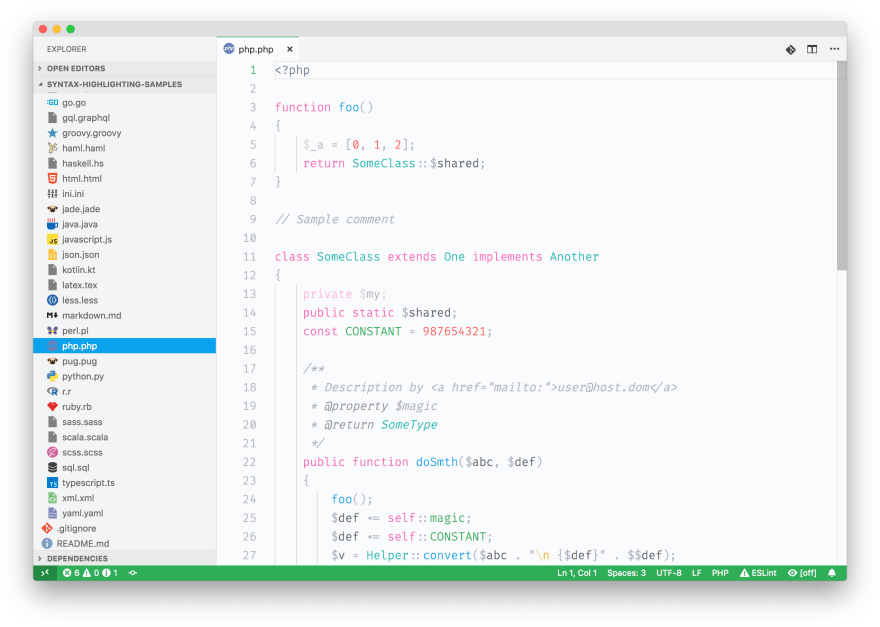 Screenshot of some PHP sample code