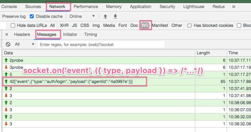 Embedding an event in a WebSocket frame
