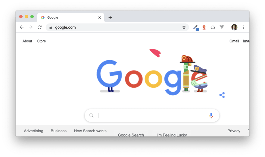 Google main page screenshot on April 8th 2020