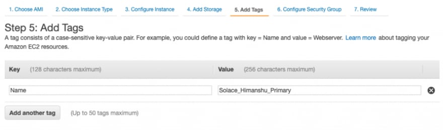I added the Name tag to my EC2 instance