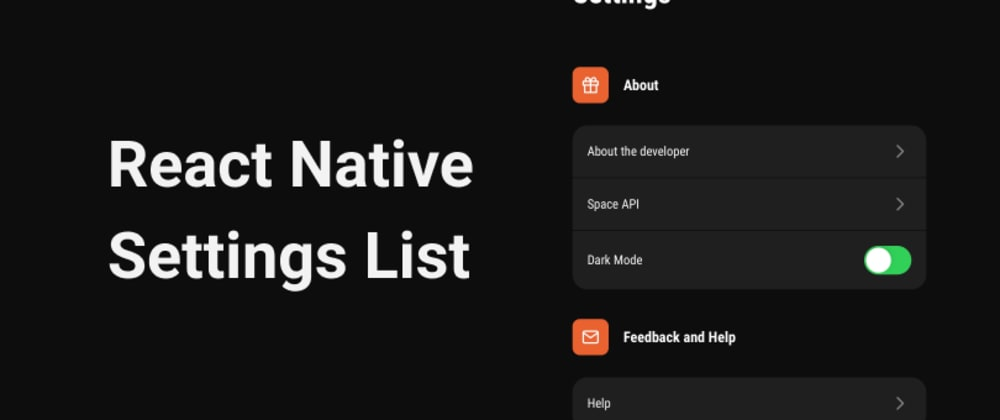 Cover image for Simple Settings List in ReactNative