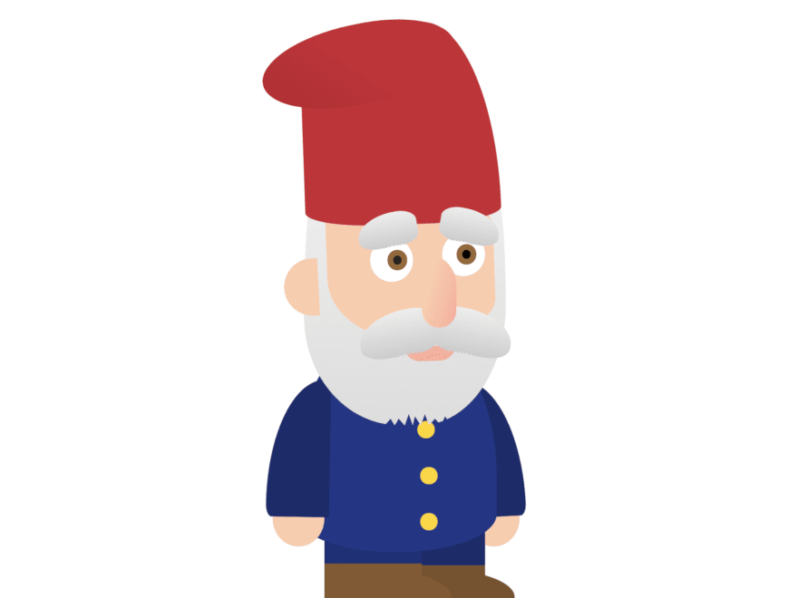 A sad-looking gnome with a hat and small boots