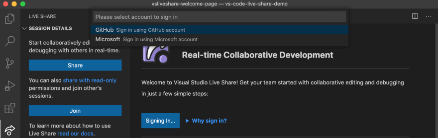 Sign in with your GitHub or Microsoft account