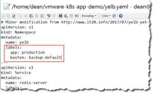Application deployment with kasten label