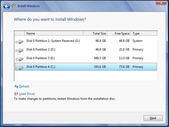 Windows Partioning