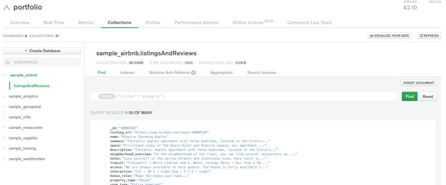 Load Sample Data at MongoDB Atlas