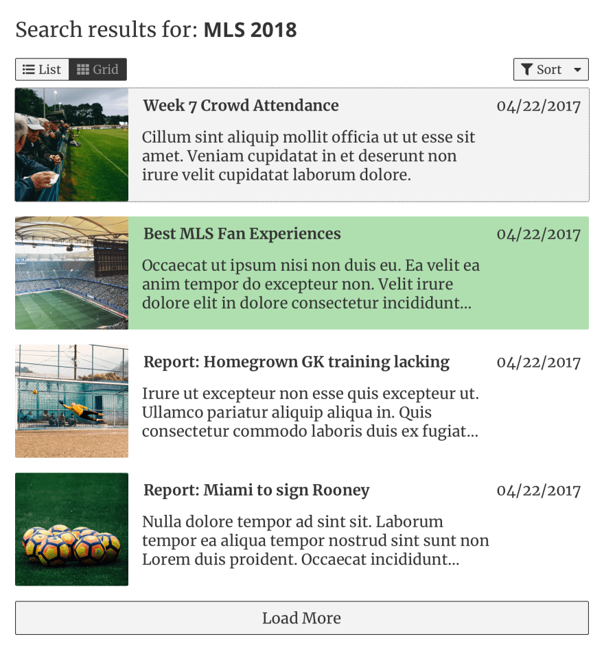 A results page component in list view, with one result entry highlighted to indicate it is sponsored