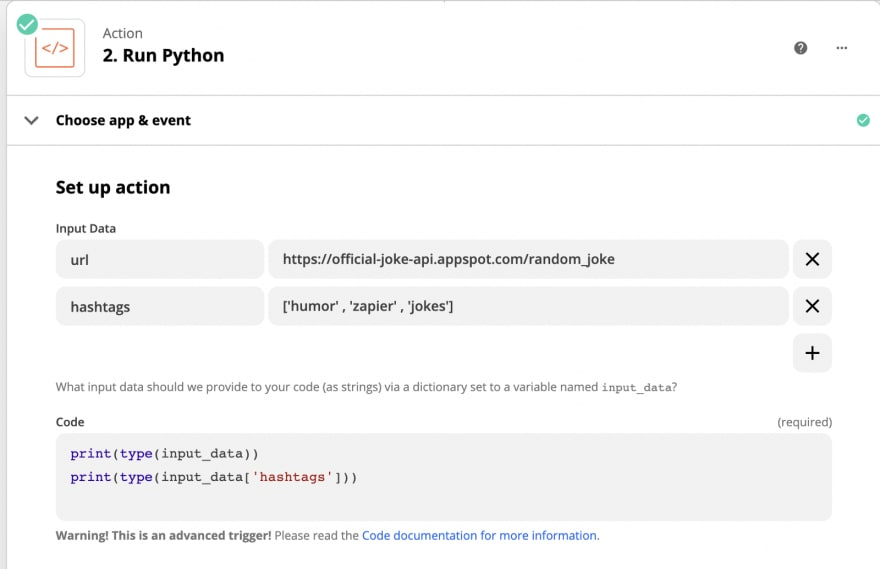Screenshot of Code by Zapier