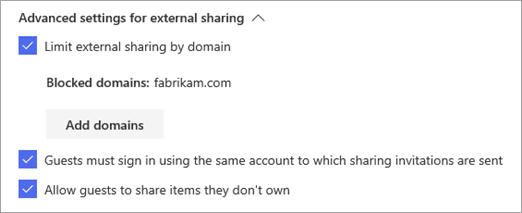 Advanced settings for external sharing - Microsoft