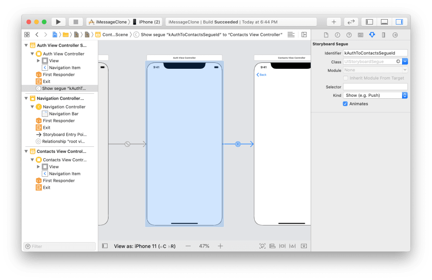 storyboard with the auth screen with a segue to the contacts screen