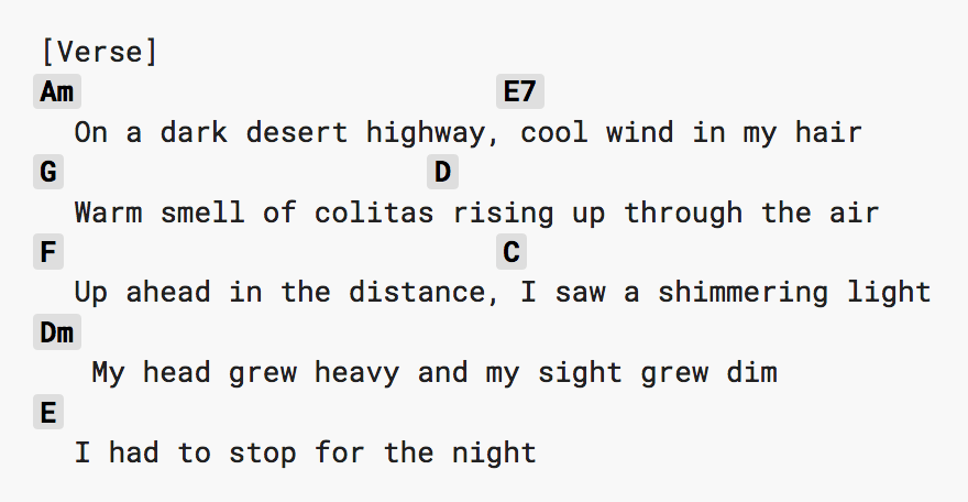 A verse of Hotel California with different chords above the words.