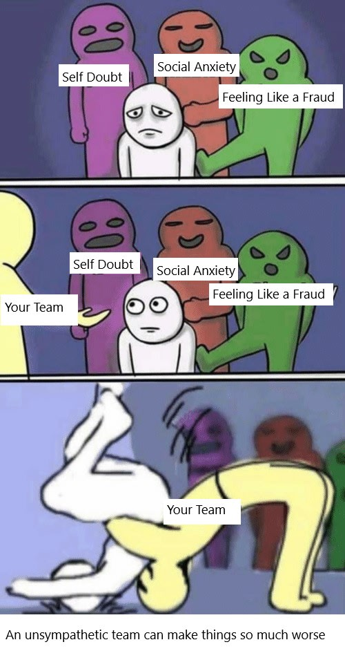 Meme cartoon where three characters labeled as self doubt, social anxiety and feeling like a fraud bully a nameless fourth character. A fifth character labeled as Your Team offers a helping hand only to suplex the bullied character. Text at the bottom reads An Unsympathetic Team Can Make Things So Much Worse