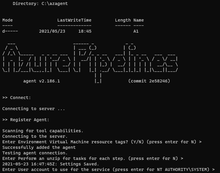 Azure pipeline agent install console