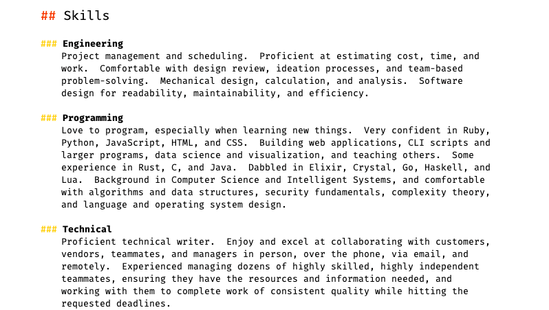 My Resume, part 3.