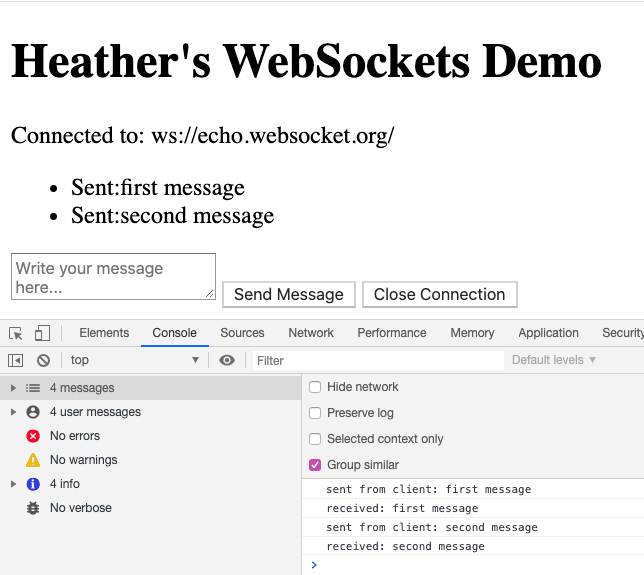 WebSocket demo on page