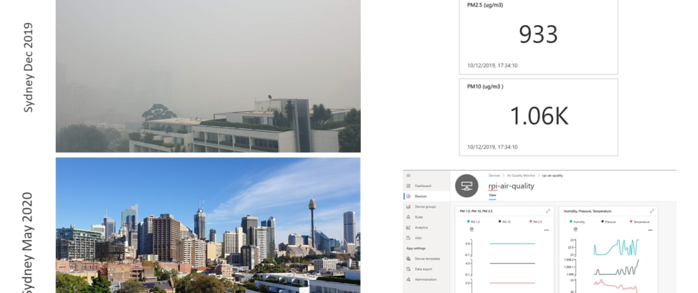 Cover image for Build an Air Pollution Monitor with a Raspberry Pi, a Particulate Matter sensor and IoT Central