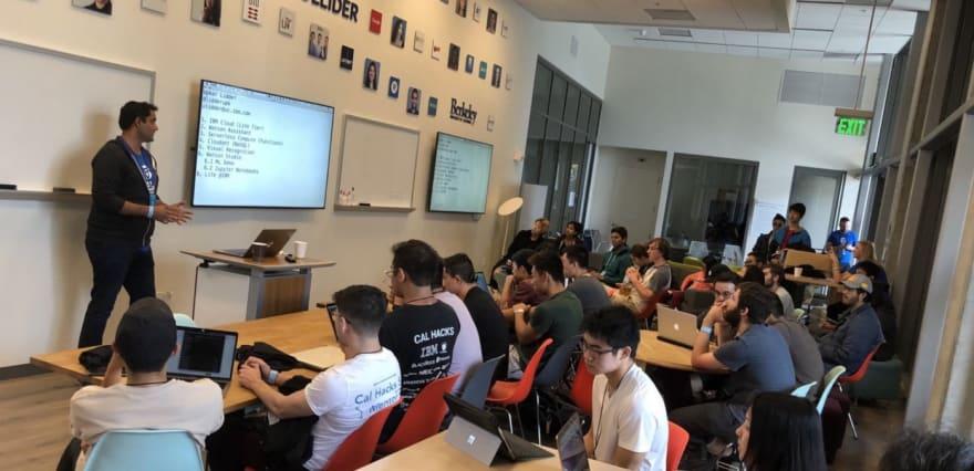 Upkar presenting a workshop at CalHacks 2018