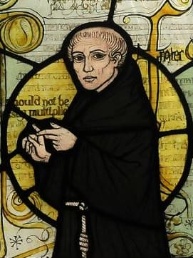 Stained-glass window showing William of Ockham