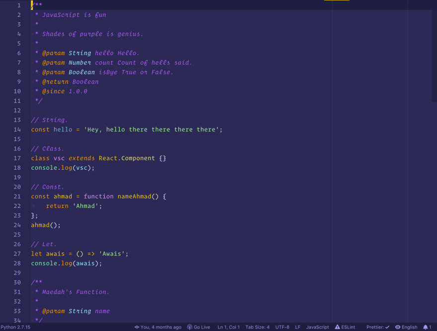 Shades of Purple - Javascript