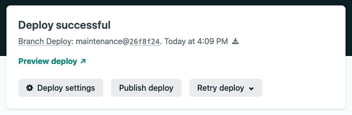 "Screenshot of Netlify's UI ""publish deploy"""