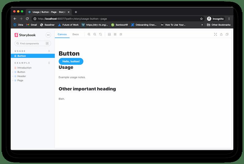 Storybook Button - Usage