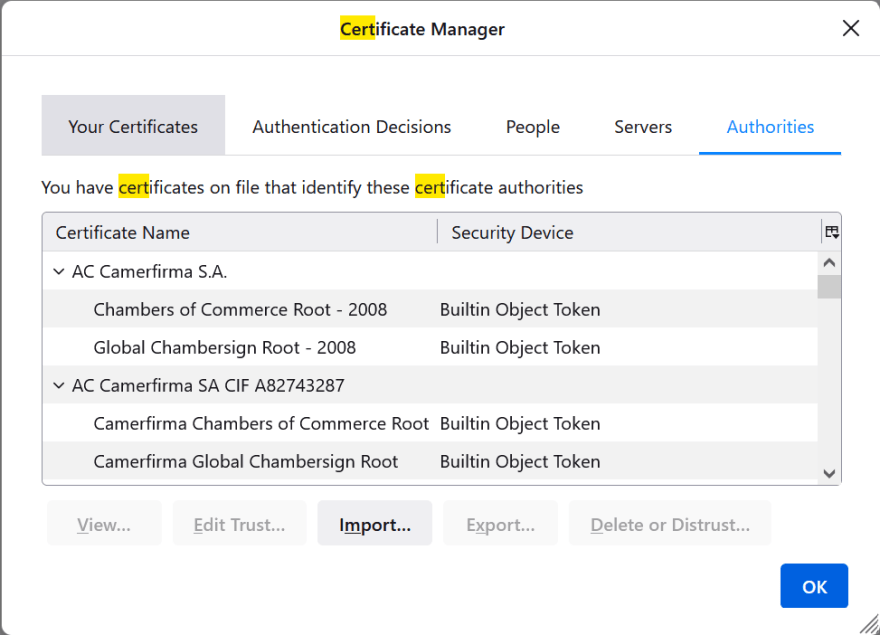 Firefox certificates manager - authorities tab
