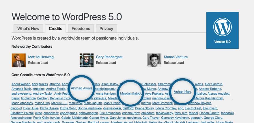 Core Contributing Developer WordPress 5.0
