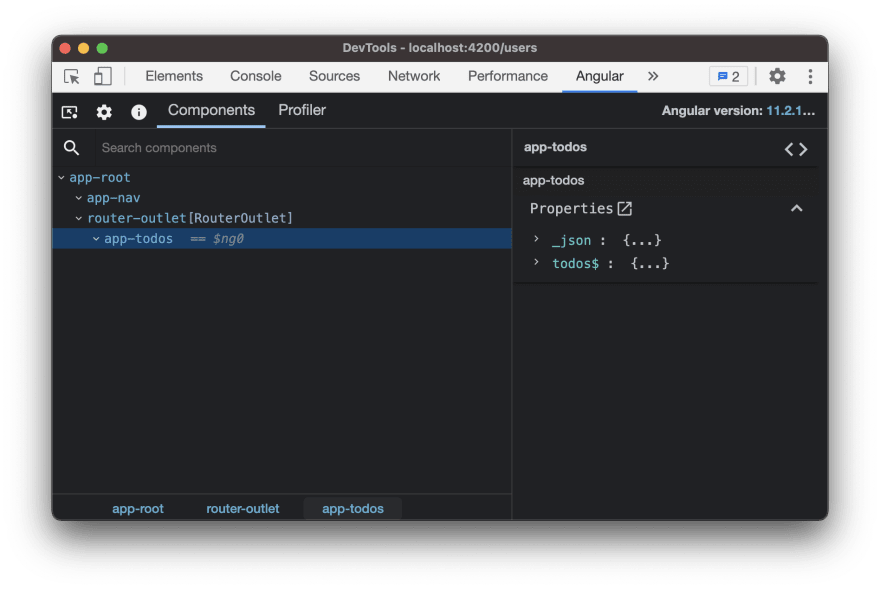 Angular dev tools showing the app-todos component