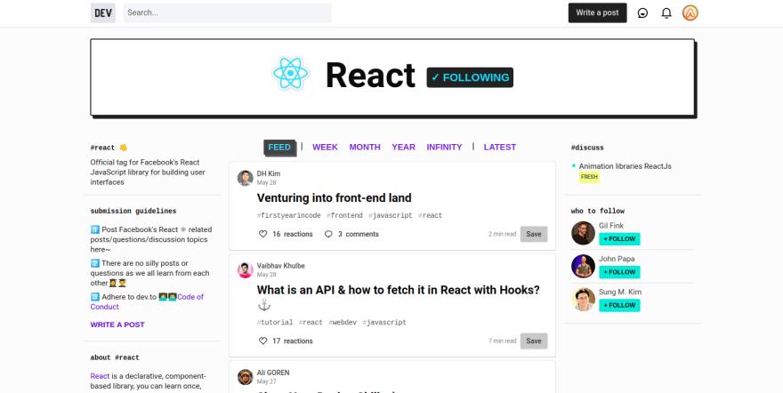 Dev.to React tag