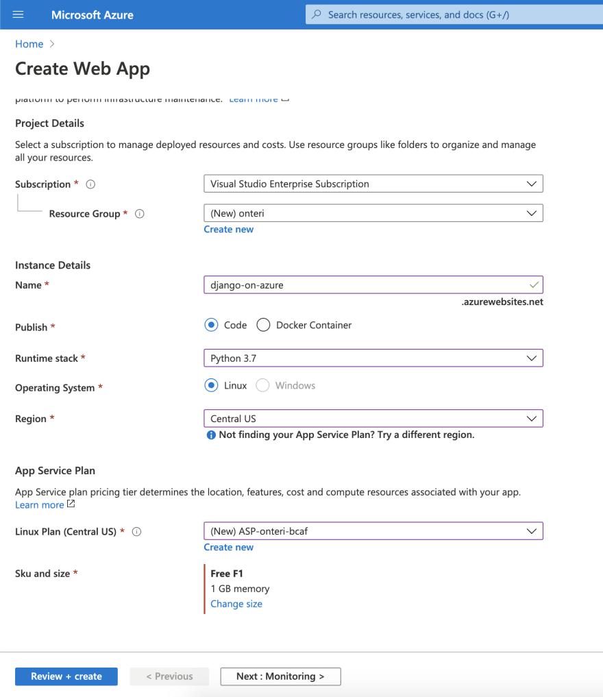 Provision Azure App Service