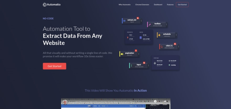 Automatio is most powerful no-code web automation tool which give you ability to create bots, scrapers, monitor websites