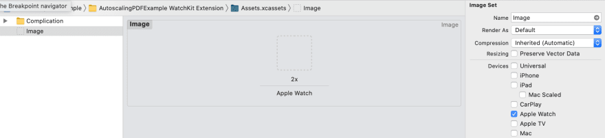 Image showing the settings for an Apple Watch Image Set