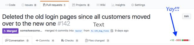 An image of Github.com that shows how awesome it is to have a PR with tons of deleted lines