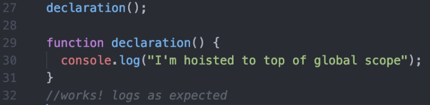 function declaration hoisting example