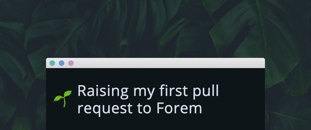 Cover image for Raising my first pull request to Forem