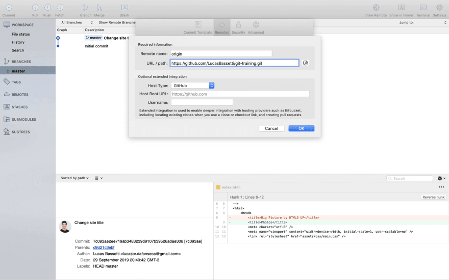 Sourcetree new remote form