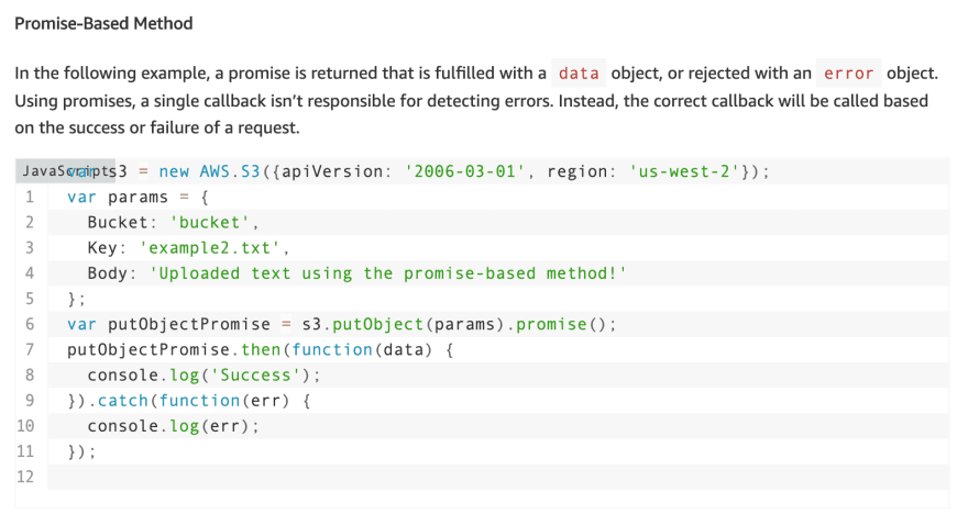 The AWS SDK showing how to use promises instead of callback