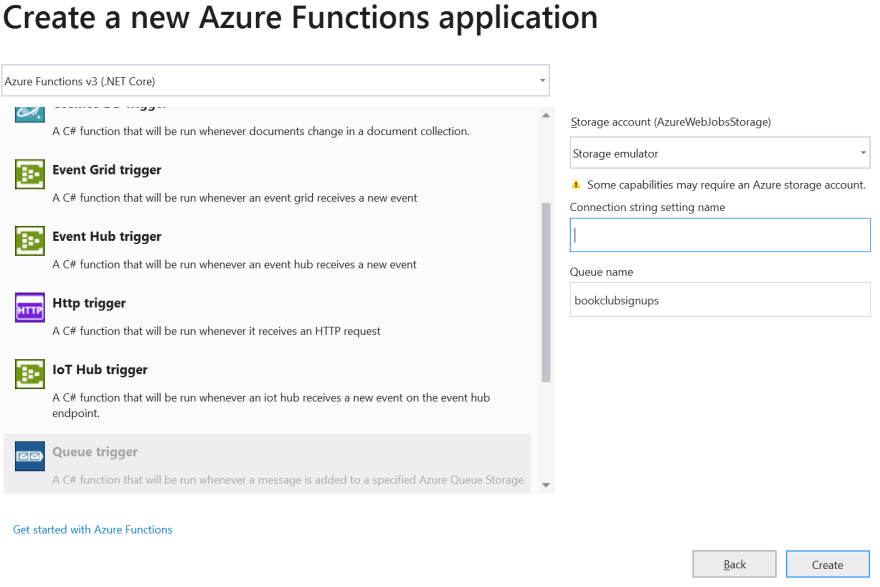 Visual Studio 2019 Set Azure Function Trigger Type