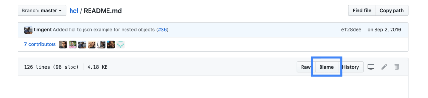GitHub button for Blame for README.md