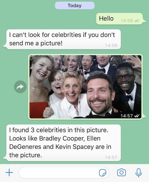 When sending the Ellen DeGeneres Oscars photo, full of celebrities, Rekognition spots Bradley Cooper, Ellen DeGeneres and Kevin Spacey.