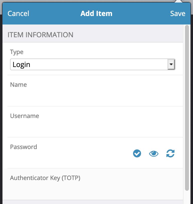 Bitwarden add login form