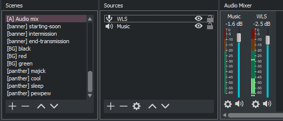 A screenshot of the audio component scene in OBS which I add to every composite scene
