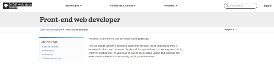 Front End Developer pathway course