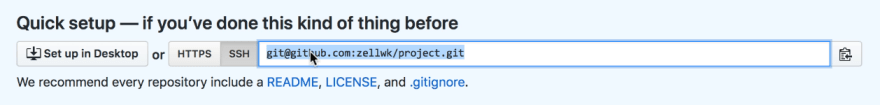 Select the URL. Make sure SSH is checked