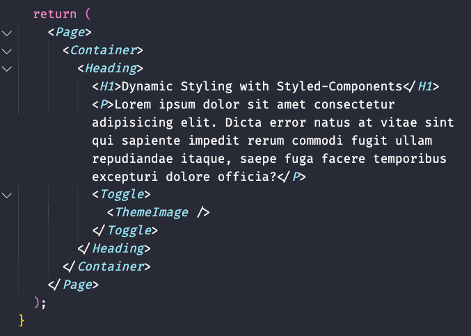 Example code showing the Page, Heading, H1, P, Toggle, and ThemeImage components