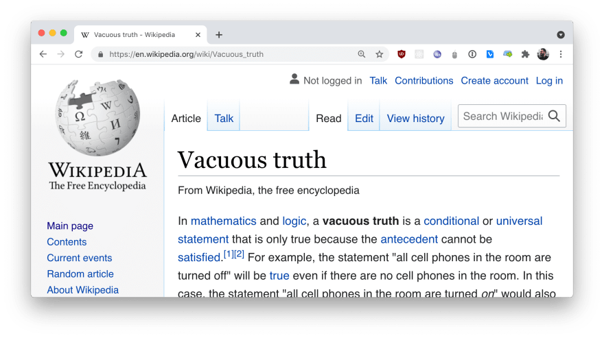 """""""Vacuous truth"""" on Wikipedia"""