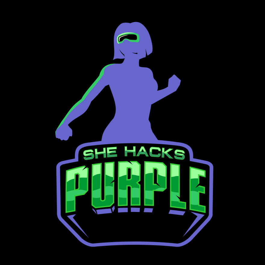 My beautiful new logo, 'SheHacksPurple'