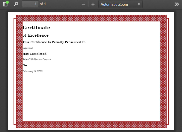 Basic layout result PDF.